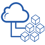 icon cloud blocks microservices blue 150x150