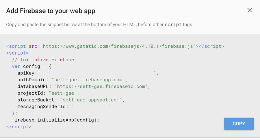 Adding Firebase to your web app